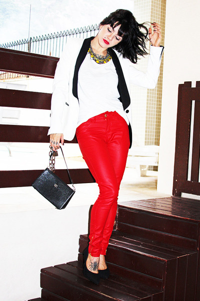 red c&a pants - white Zara blazer - black Victor Hugo bag