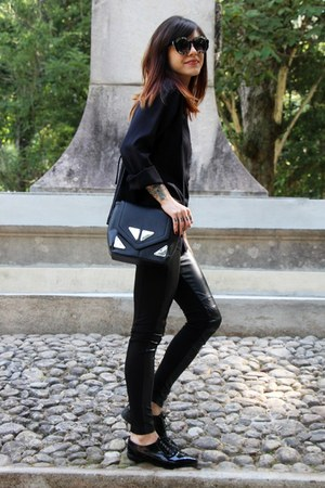 black Satinato shoes - black c&a bag - black zeroUV sunglasses - black c&a pants