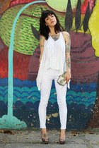 white sequins Animale top - silver silver miallegra bag - white Zara pants