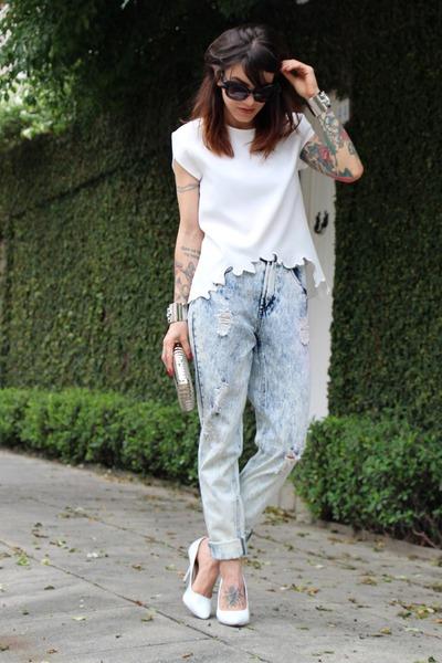 white Zara blouse - sky blue Forever 21 jeans - silver miallegra bag