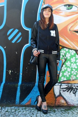 black Zara hat - black Amaro jacket - black c&a leggings - black Andarella pumps