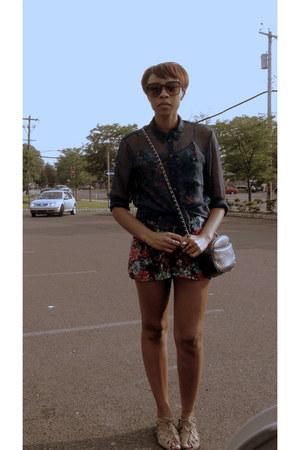 H&M shirt - Goodwill bag - Betsey Johnson sunglasses - Forever 21 romper - Mia s