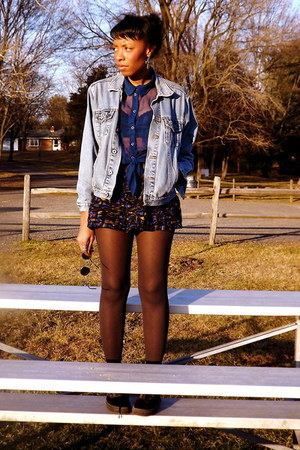Forever21 shorts - vintage Levis jacket - H&M blouse