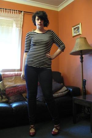 red Primark shoes - blue Dr Denim jeans - blue Primark top - red Kate Moss for T