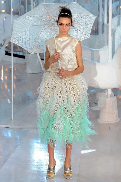 aquamarine Louis Vuitton skirt - white Louis Vuitton shirt
