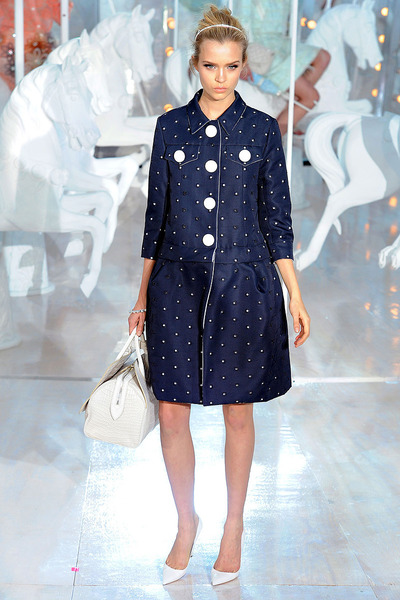 navy Louis Vuitton dress - white sandals
