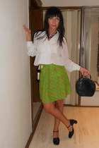 white RASICA shirt - navy romantic Mona bag - lime green retro homemade skirt