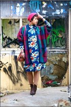 blue vintage dress - brown friis&compagny boots - ruby red vintage coat