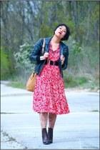 black Oakwood jacket - brown Friis & Company boots - red vintage dress