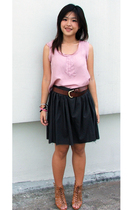 green thifted skirt - brown Lovely shoes shoes - brown Devy belt