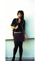 blazer - top - Esprit skirt - belt - tights - shoes