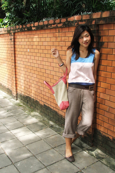 H&M top - stolen from sis belt - Outlet garment pants - Clark shoes - jj market