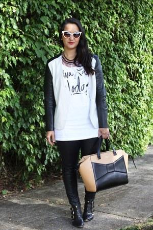 Zara necklace - Aldo boots - furor moda leggings - H&ampM blazer