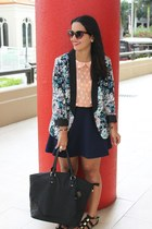 floral print LC Lauren Conrad blazer - navy Forever 21 skirt