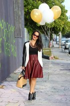 brick red Zara necklace - black Aldo boots - silver H&M blazer