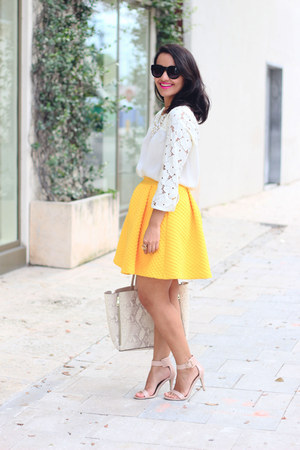 H&M skirt - ann taylor bag - LC Lauren Conrad blouse - Payless heels