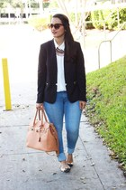 H&M blazer - Forever 21 blouse - Zara necklace - coach flats