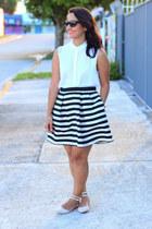 H&M skirt - LC Lauren Conrad blouse - JustFab flats