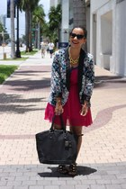 purple Forever 21 dress - floral LC Lauren Conrad blazer