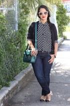 H&M jeans - zeroUV sunglasses - coach flats - H&M cardigan - Forever 21 blouse