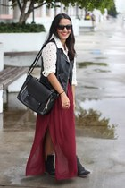 maxi skirt Forever 21 skirt - leather H&M vest - Target wedges