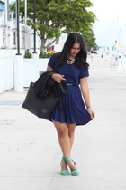 navy Forever 21 dress - black maxi JustFab bag - Zara heels