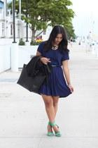 navy Forever 21 dress - black maxi JustFab bag - Zara heels