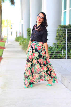 Forever 21 skirt - Forever 21 blouse - Zara sandals
