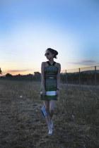 green Fabitoria dress - white windowbag bag