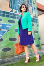 Aquamarine-calvin-klein-jacket-deep-purple-ross-dress-carrot-orange-bag