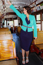 Navy-polka-dot-macys-dress-aquamarine-fitted-calvin-klein-blazer