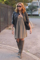 leather jacket - Zara dress