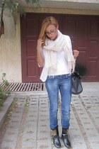 navy jeans - white Zara blazer - tan H&M scarf
