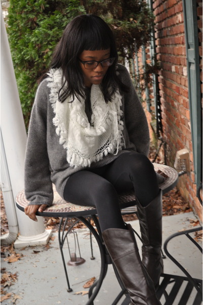white scarf - brown boots - black tights leggings - grey sweatshirt