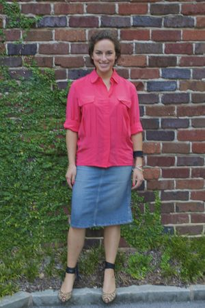 pink Anne Klein shirt - blue Marc by Marc Jacobs skirt - yellow Argentinean wedg