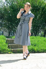 Light-blue-a-line-chambray-dress-light-pink-striped-socks-navy-wedges