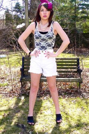 white shorts - black