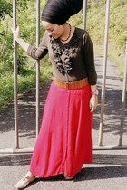 army green cardigan - red skirt