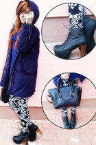 navy H&M sweater - white Prettyquide leggings - black dresslily bag