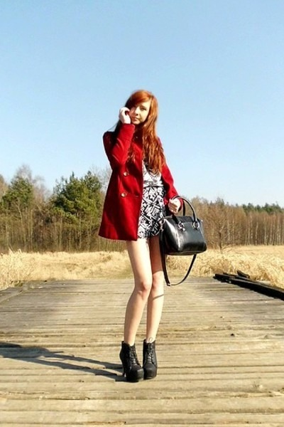 red Bershka coat - black dresslily bag - white Choies shorts