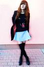 Black-h-m-coat-black-oasap-blouse-turquoise-blue-prettyquide-skirt