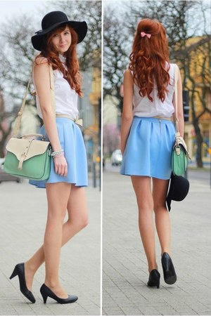 light blue skirt - black hat - aquamarine bag
