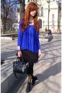 Blue-sweater-black-tights