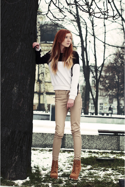 off white Sweater sweater - tawny Shoes shoes - cream pants pants