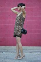 dark brown animal print Forever21 dress - black cross body Chanel bag