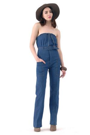 blue denim jumpsuit romper