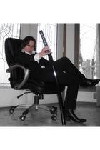 white Hugo Boss shirt - black Hugo Boss jacket - black Hugo Boss pants - black C