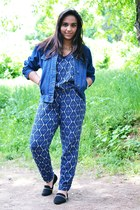 blue River Island romper - navy blue denim pieces jacket - silver Lorus watch