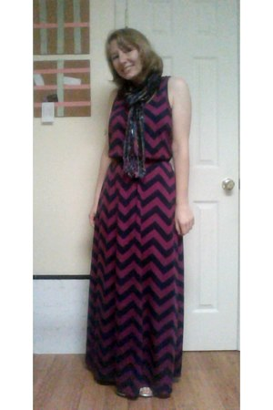 chevron maxi Walmart dress - metallic Trades of Hope scarf