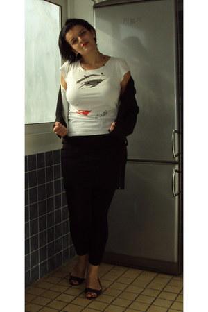 black short H&M jacket - black long Promod leggings - white dita von teese H&M s